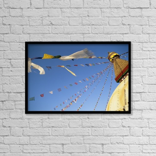"Printscapes Wall Art: 18"" x 12"" Canvas Print With Black Frame - Buddha Stupa by Chris Caldicott"