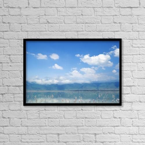 "Printscapes Wall Art: 18"" x 12"" Canvas Print With Black Frame - Flamingos In Lake Ngorongoro by Chris Caldicott"