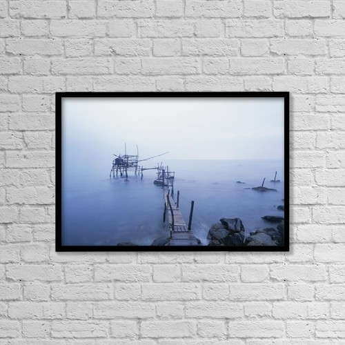 "Printscapes Wall Art: 18"" x 12"" Canvas Print With Black Frame - Old Fishing Platform At Dusk by Ian Cumming"