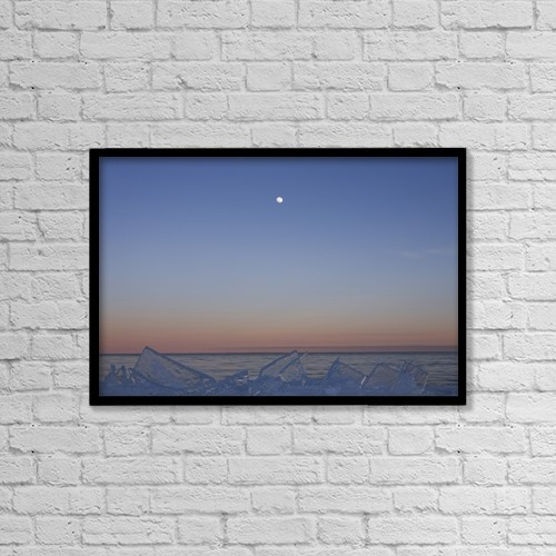 "Printscapes Wall Art: 18"" x 12"" Canvas Print With Black Frame - Full Moon At Dusk With Ice On Lake Superior by Susan Dykstra"