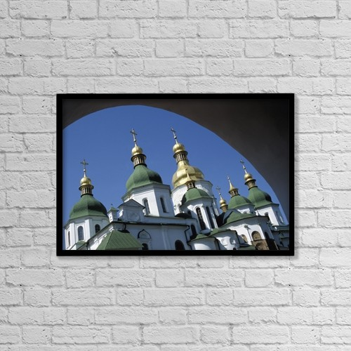 "Printscapes Wall Art: 18"" x 12"" Canvas Print With Black Frame - St Sophia Cathedral And Archway by Chris Bradley"