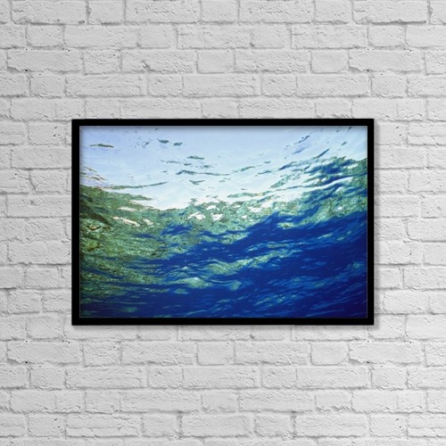 "Printscapes Wall Art: 18"" x 12"" Canvas Print With Black Frame - Ocean Water And Reflections, Close-Up by Alex Misiewicz"