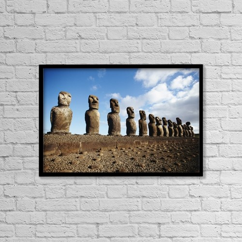"""Printscapes Wall Art: 18"""" x 12"""" Canvas Print With Black Frame - Ahu Tongariki by Paul Miles"""
