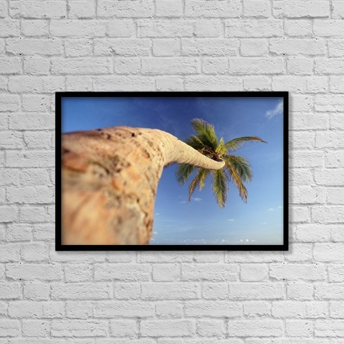 "Printscapes Wall Art: 18"" x 12"" Canvas Print With Black Frame - Palm Tree Above Bavaro Beach At Dawn by Ian Cumming"