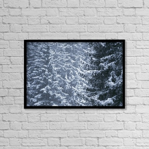 "Printscapes Wall Art: 18"" x 12"" Canvas Print With Black Frame - Pine Trees Covered In Snow, Les Arcs by Ian Cumming"