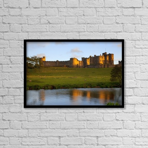 """Printscapes Wall Art: 18"""" x 12"""" Canvas Print With Black Frame - Alnwick Castle by John Short"""
