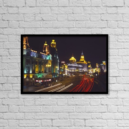"Printscapes Wall Art: 18"" x 12"" Canvas Print With Black Frame - The Bund At Night by Charles Bowman"