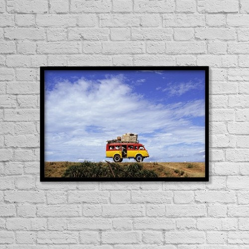 "Printscapes Wall Art: 18"" x 12"" Canvas Print With Black Frame - Minibus Driving Along Highway 1 by Steve Benbow"