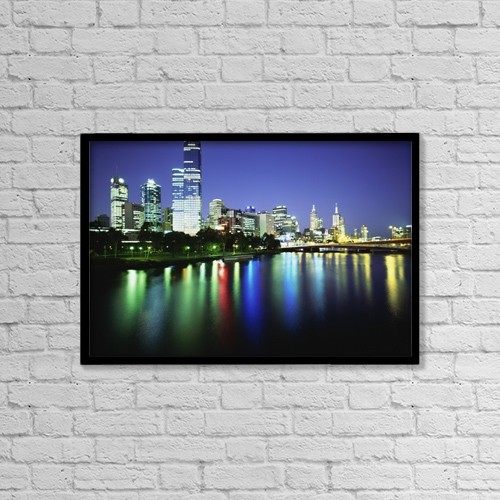 """Printscapes Wall Art: 18"""" x 12"""" Canvas Print With Black Frame - Melbourne Skyline At Night by Chris Martin"""