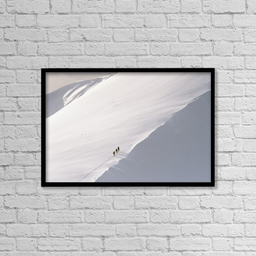 "Printscapes Wall Art: 18"" x 12"" Canvas Print With Black Frame - Trekking Up Snowy Mountain by Ian Cumming"