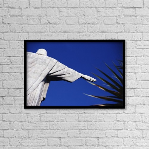 "Printscapes Wall Art: 18"" x 12"" Canvas Print With Black Frame - Christ The Redeemer And Palm Leaves by Sue Carpenter"