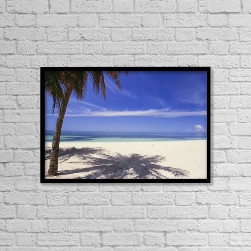 "Printscapes Wall Art: 18"" x 12"" Canvas Print With Black Frame - Palm Tree On Tropical Beach, Playa Ancon by Ian Cumming"