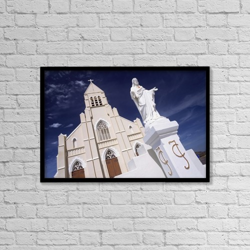 "Printscapes Wall Art: 18"" x 12"" Canvas Print With Black Frame - Statue Of Jesus Outside Church by Ian Cumming"