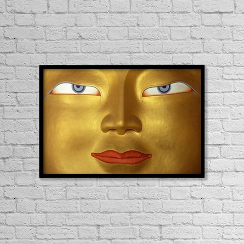 """Printscapes Wall Art: 18"""" x 12"""" Canvas Print With Black Frame - Buddha In Monastery, Close Up; Ladakh, India by Ian Cumming"""