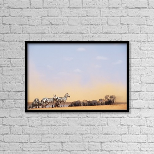 """Printscapes Wall Art: 18"""" x 12"""" Canvas Print With Black Frame - Zebras And Water Buffalo At A Watering Hole by Steve Benbow"""