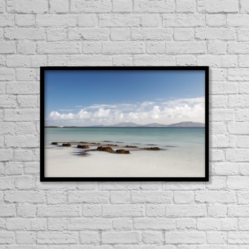 "Printscapes Wall Art: 18"" x 12"" Canvas Print With Black Frame - Seaweed On The Shore On Eilogarry Beach by John Short"