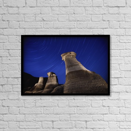 """Printscapes Wall Art: 18"""" x 12"""" Canvas Print With Black Frame - Hoodoos And Star Trails In The Sky by Richard Wear"""