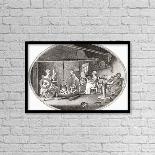 "Printscapes Wall Art: 18"" x 12"" Canvas Print With Black Frame - Handicrafts In The 18Th And 19Th Centuries by Ken Welsh"