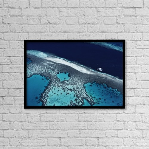 """Printscapes Wall Art: 18"""" x 12"""" Canvas Print With Black Frame - Great Barrier Reef, High Angle View by Michael Coyne"""