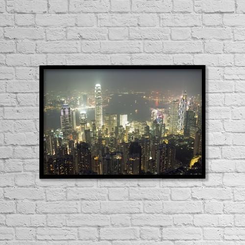 """Printscapes Wall Art: 18"""" x 12"""" Canvas Print With Black Frame - City Illuminated At Night, Hong Kong by Ian Cumming"""