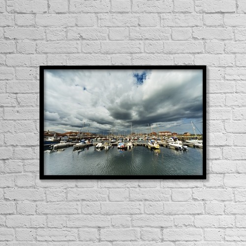 "Printscapes Wall Art: 18"" x 12"" Canvas Print With Black Frame - Boats In A Harbor by John Short"