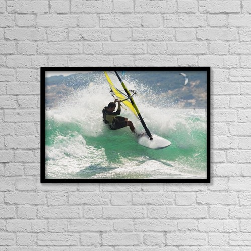 """Printscapes Wall Art: 18"""" x 12"""" Canvas Print With Black Frame - Wind Surfing In The Ocean by Ben Welsh"""