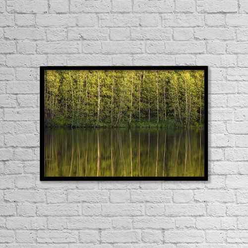 """Printscapes Wall Art: 18"""" x 12"""" Canvas Print With Black Frame - Trees Reflected In The Water by David Chapman"""