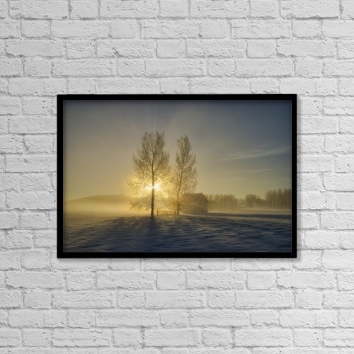 "Printscapes Wall Art: 18"" x 12"" Canvas Print With Black Frame - Calgary, Alberta, Canada by Philippe Widling"