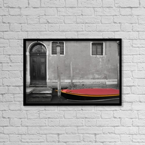 "Printscapes Wall Art: 18"" x 12"" Canvas Print With Black Frame - Venice, Italy by Philippe Widling"