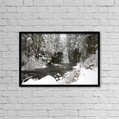 "Printscapes Wall Art: 18"" x 12"" Canvas Print With Black Frame - A Waterfall In To A River In Winter by Craig Tuttle"