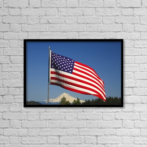 "Printscapes Wall Art: 18"" x 12"" Canvas Print With Black Frame - The American Flag by Craig Tuttle"