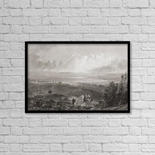 "Printscapes Wall Art: 18"" x 12"" Canvas Print With Black Frame - Lake Tiberius, Palestine by Ken Welsh"