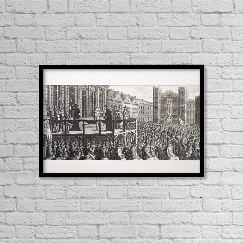 "Printscapes Wall Art: 18"" x 12"" Canvas Print With Black Frame - The Execution Of King Charles I Of England by Ken Welsh"