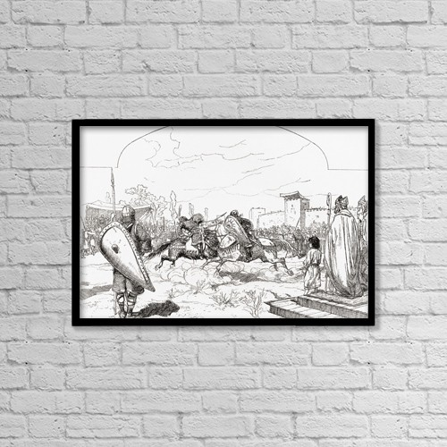 """Printscapes Wall Art: 18"""" x 12"""" Canvas Print With Black Frame - Knights In Medieval Jousting Tournament by Ken Welsh"""