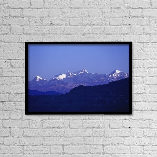 "Printscapes Wall Art: 18"" x 12"" Canvas Print With Black Frame - View Of The Himalayas by Chris Caldicott"
