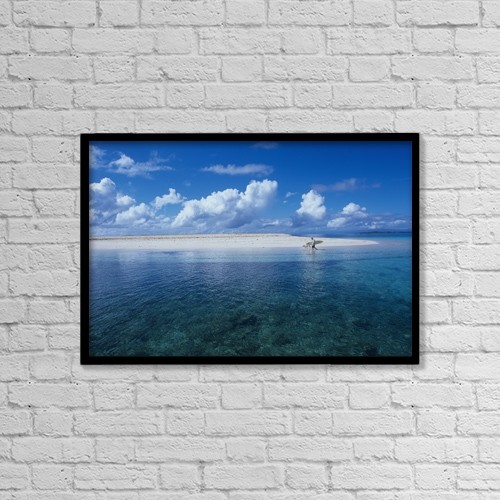 "Printscapes Wall Art: 18"" x 12"" Canvas Print With Black Frame - Surfer Walking With Dog On Tropical Island by Chris Martin"