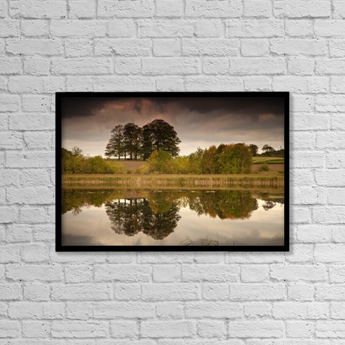 "Printscapes Wall Art: 18"" x 12"" Canvas Print With Black Frame - Trees Reflected In The Water by John Short"