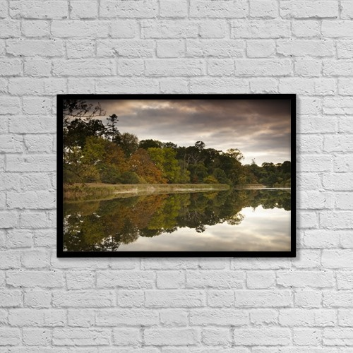 "Printscapes Wall Art: 18"" x 12"" Canvas Print With Black Frame - Trees Reflected In Tranquil Water by John Short"