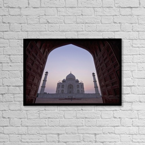 "Printscapes Wall Art: 18"" x 12"" Canvas Print With Black Frame - The Taj Mahal At Dusk As Seen Through Arch by Ian Cumming"