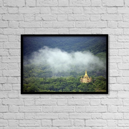 "Printscapes Wall Art: 18"" x 12"" Canvas Print With Black Frame - View From Phu Si Hill by Chris Caldicott"