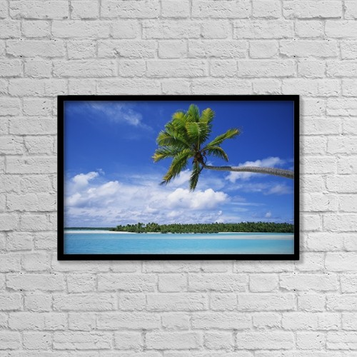 """Printscapes Wall Art: 18"""" x 12"""" Canvas Print With Black Frame - View Of Deserted Beach From Tapuae Tai Island by Paul Miles"""