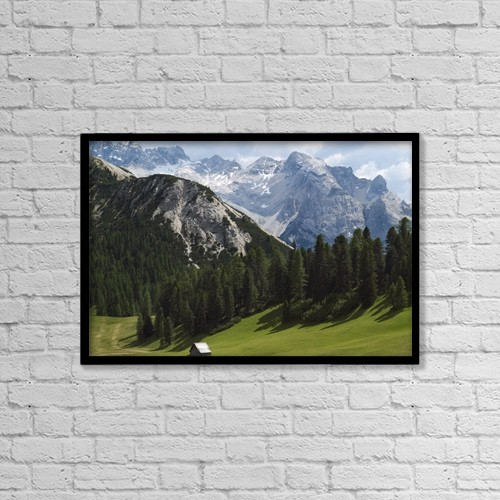 """Printscapes Wall Art: 18"""" x 12"""" Canvas Print With Black Frame - Summer Alpine Meadows And Hut by Penny Kendall"""