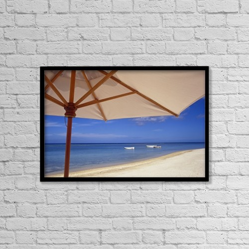 """Printscapes Wall Art: 18"""" x 12"""" Canvas Print With Black Frame - Umbrella And Tropical Beach, Close Up by Chris Caldicott"""