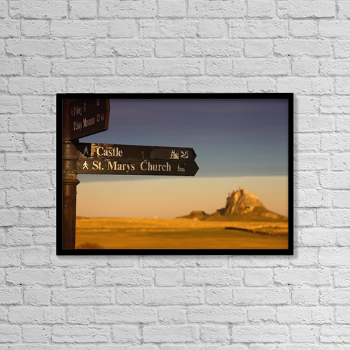 """Printscapes Wall Art: 18"""" x 12"""" Canvas Print With Black Frame - A Sign Post Pointing To A Castle And St by John Short"""