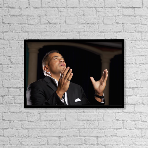 "Printscapes Wall Art: 18"" x 12"" Canvas Print With Black Frame - Christian Faith by Ron Nickel"