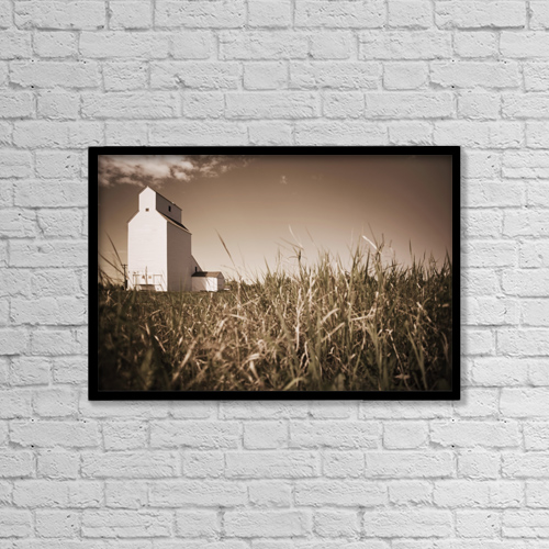 "Printscapes Wall Art: 18"" x 12"" Canvas Print With Black Frame - Alberta, Canada; A Grain Elevator by Darren Greenwood"