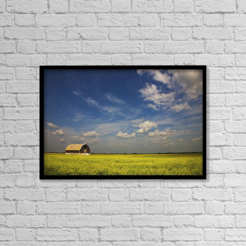 "Printscapes Wall Art: 18"" x 12"" Canvas Print With Black Frame - Alberta, Canada; An Old Barn In A Field by Darren Greenwood"