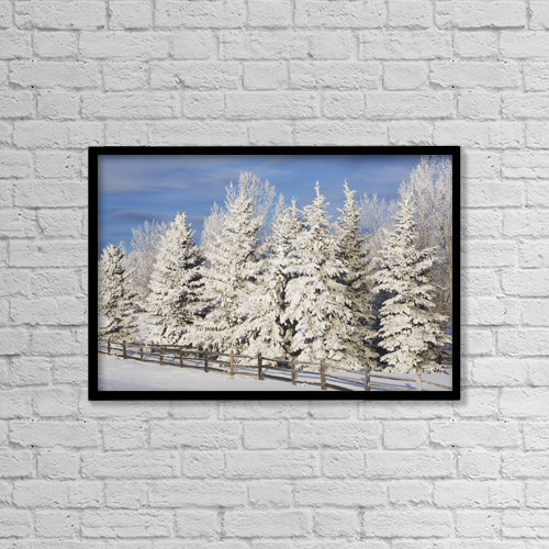 "Printscapes Wall Art: 18"" x 12"" Canvas Print With Black Frame - Calgary, Alberta, Canada by Michael Interisano"