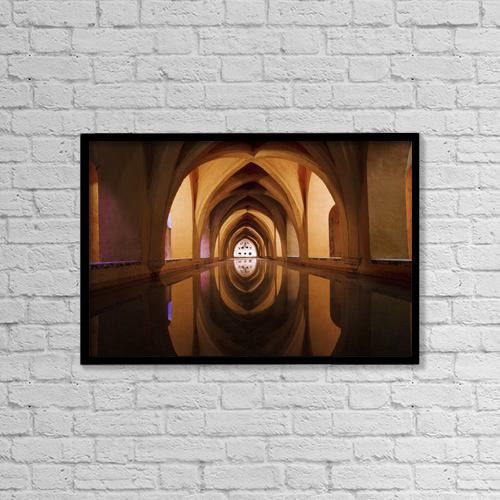 "Printscapes Wall Art: 18"" x 12"" Canvas Print With Black Frame - Bath Of Dona Maria De Padilla At Alcazar by Charles Bowman"