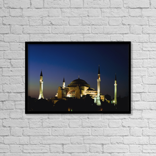 "Printscapes Wall Art: 18"" x 12"" Canvas Print With Black Frame - Illuminated Hagia Sophia Mosque At Dusk by Ellen Rooney"